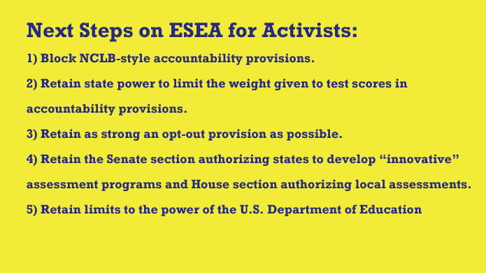 Next Steps for Test Reform Activists on ESEA Reauthorization